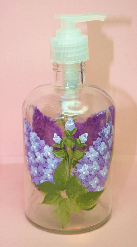 Hand Painted Pump Bottle - Lovely Lilacs-  Personalized and Custom Soap Dispenser for Birthday, Wedding, Party, Special Occasions