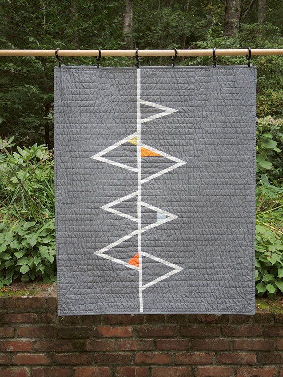 Modern Geometric Quilt  Grey Triangles II by bperrino on Etsy, $150.00