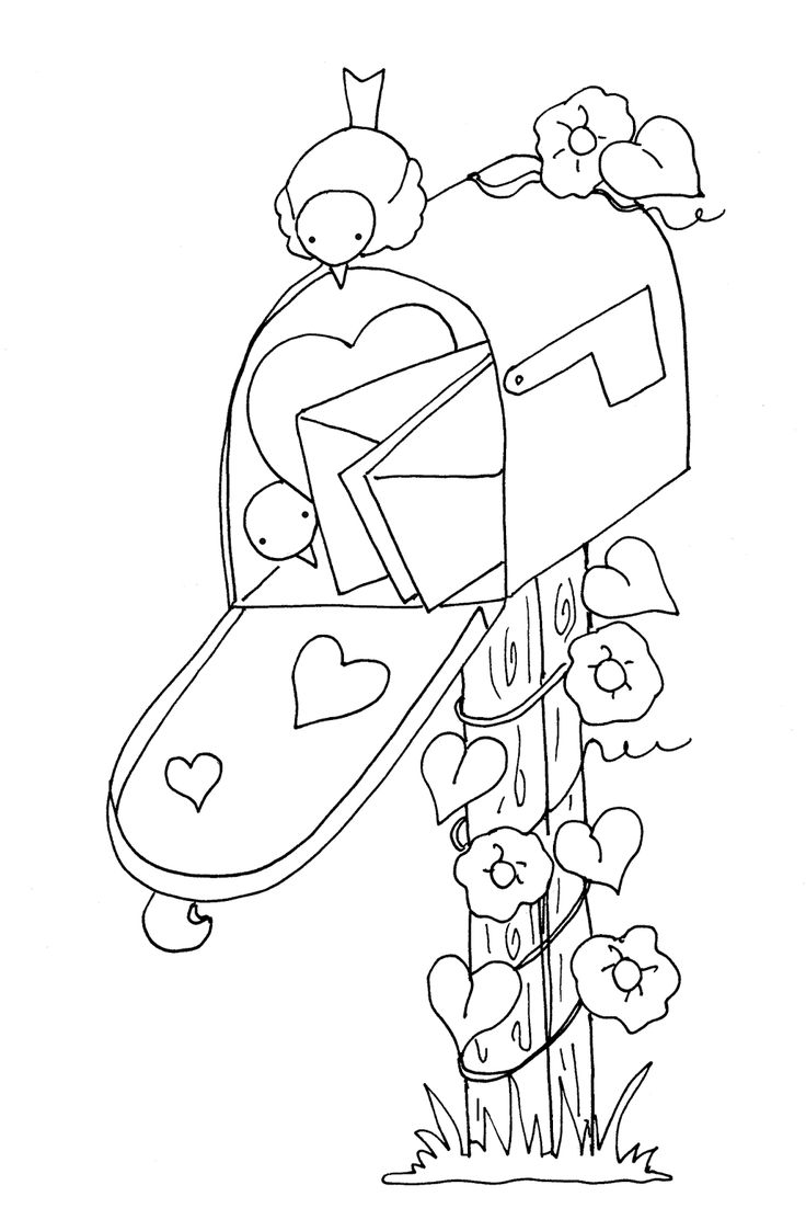 Birdhouse coloring sheet - Free Dearie Dolls Digi Stamps Valentine Mail