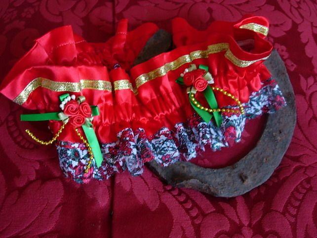 Valentine Wedding Garter - Red Gold Green £18.00