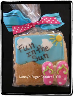 Beach Cookies....use a mini butterfly cutter to make flip flop cookies!