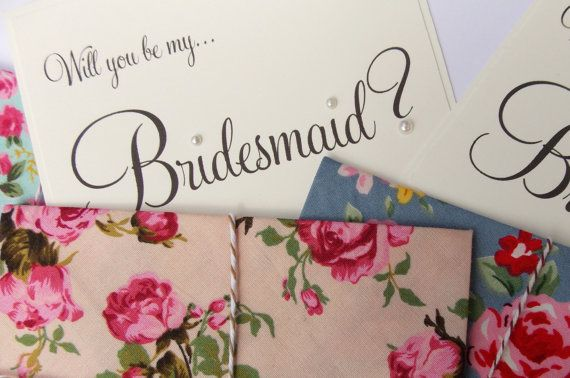 2 x Will you be my bridesmaid Cards, Wedding Invitation, bridesmaid reveal. Vintage floral fabric envelopes tied with baker's twine