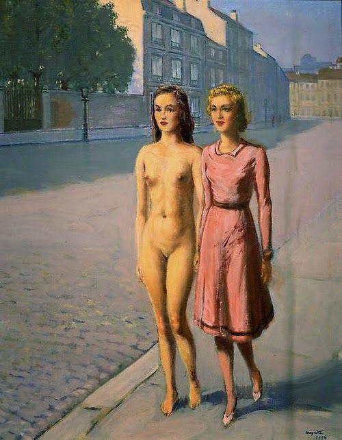 René Magritte - Fillette et Fillette nue promenadent la Rue