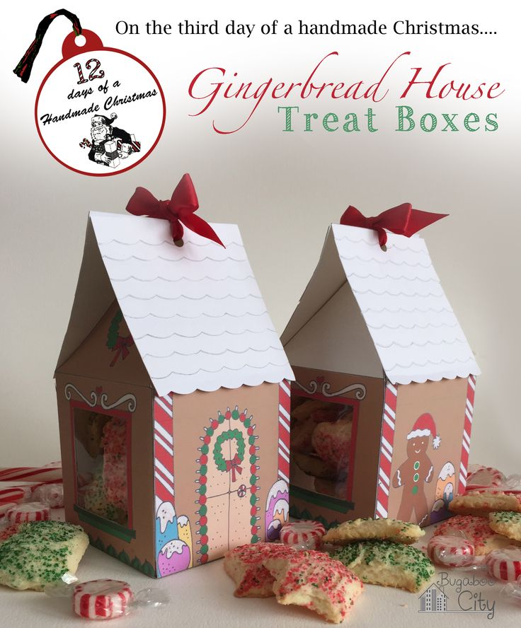 FREE printable Gingerbread House Treat Box