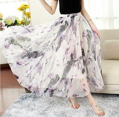 Women Lady Retro Floral Print Elastic Waist Chiffon Maxi Long Skirt Beach Dress