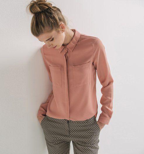 Unifarbene+Bluse