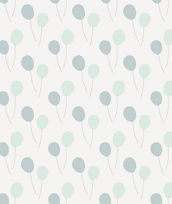 Papier peint bébé ballons vert bleu - PAPIERS PEINTS