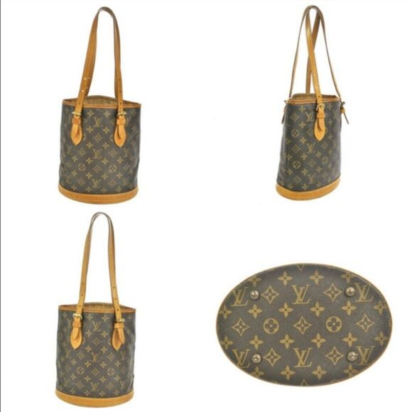 """Louis Vuitton PM bucket bag Louis Vuitton bucket bag PM. W 8.9"""" H 10.2"""" Flawless on the outside, sticky on the inside but can easily be cleaned at a shoe store. Louis Vuitton Bags Shoulder Bags"""