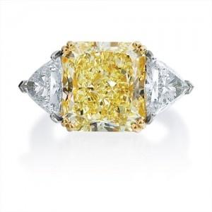 Fancy Yellow Radiant Cut Diamond, Three Stone Ring