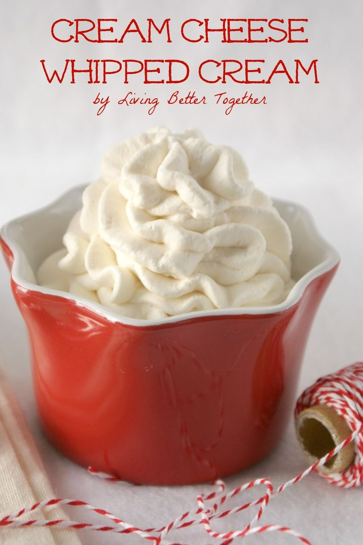 Cream Cheese Whipped Cream. Light and fluffy with a hint of sweet cream cheese. The perfect topping for hot chocolate, pie, and ice cream. www.livingbettertogether.com