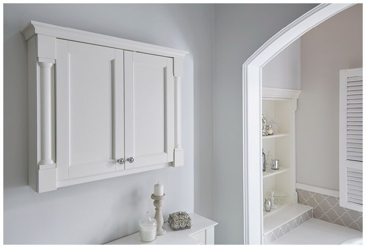 Spacious wall cabinet with decorative pilasters and cornice #Roseberry #paintedtimber #bathroomfurniture #myutopia