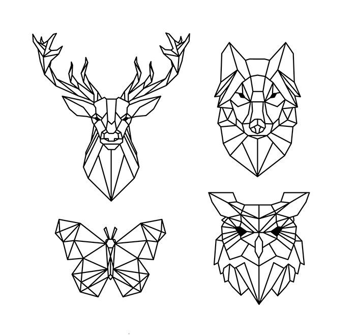 Polygonal Geometric Animals Free Vector cdr Download