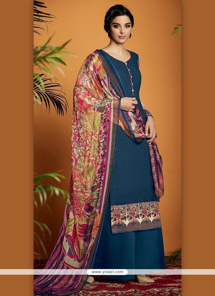 Aspiring Digital Print Work Navy Blue Cotton Satin Designer Suit Model: YOS6890