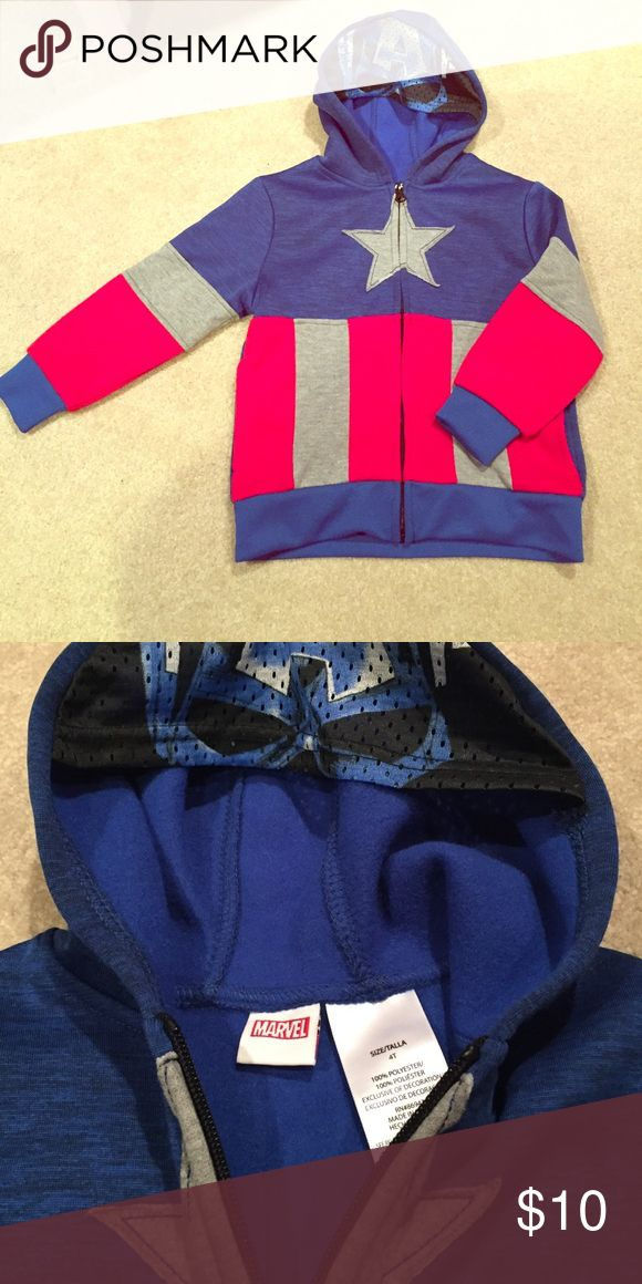 Never worn captain America sweatshirt Super comfy and warm brand new, never worn captain America sweatshirt with mesh mask on hood. Had two pockets. Perfect condition! Marvel Shirts & Tops Sweatshirts & Hoodies