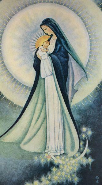 Nuestra madre celestial con su hijo Jesús en brazos- Sr. Marie Pierre Semler