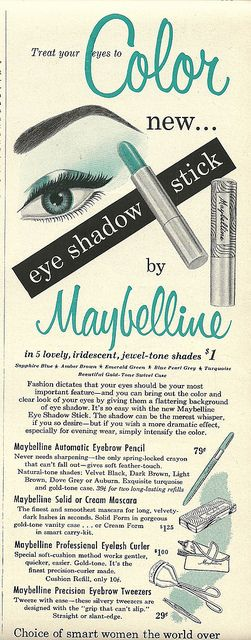 Treat your eyes to new color. vintage 1950s makeup cosmetics ads. Love it