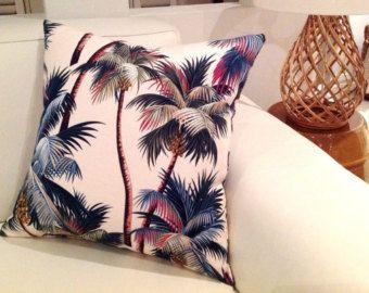 Palm Tree coussin, Palm oreillers, housses de coussin crème de palmiers tropicaux. Hawaiian coussins, oreillers tropicale hawaïenne rétro Style décor côtier
