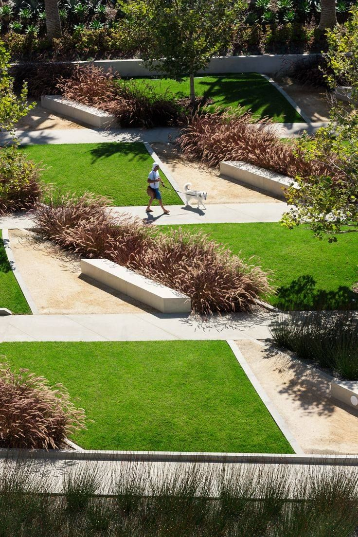 Angular shapes provide a dynamic space. More of a space designed for movement, cant imagine people having picnics here.