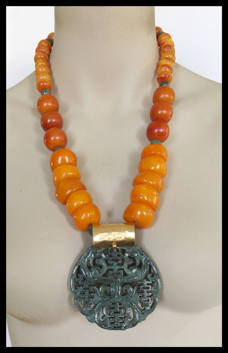 TIBET - Handcarved Jade Pendant - Handmade Tibetan Amber - Jade - Long Dramatic Statement Necklace by sandrawebsterjewelry on Etsy