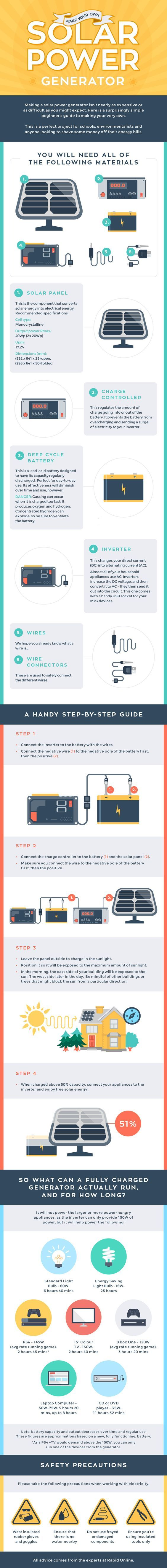 Make Your Own Solar Power Generator #infographic #Energy #SolarPower