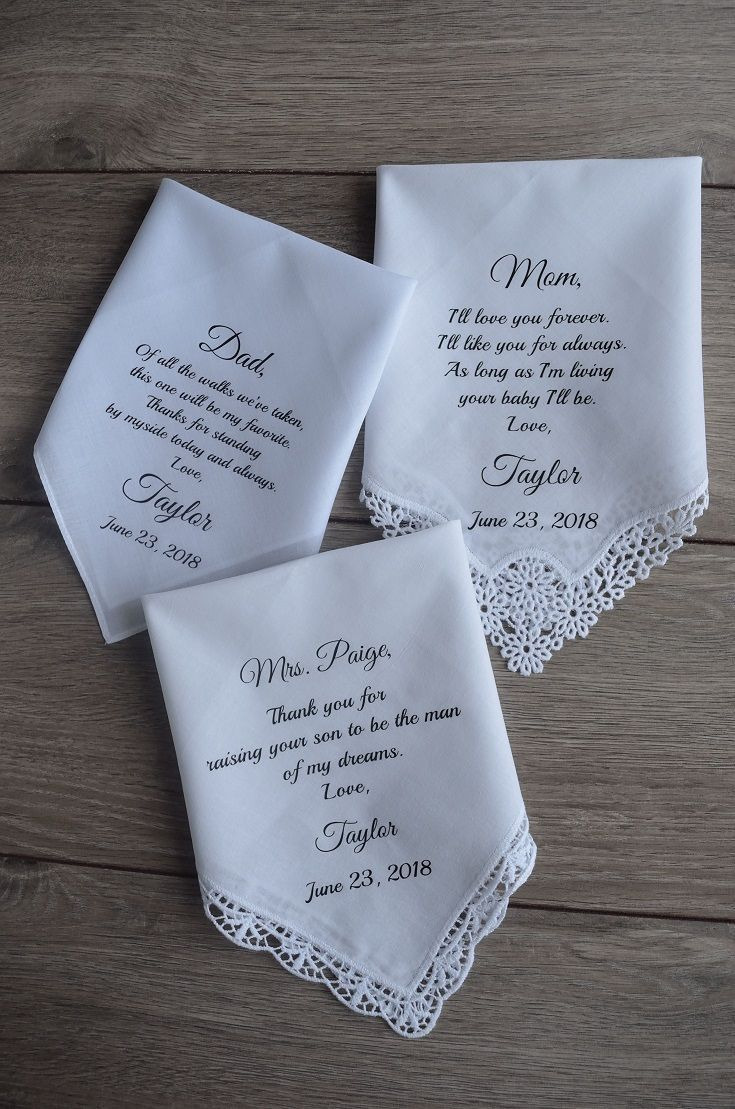 Wedding Handkerchief For Groom From Parents For Mother Of The Etsy In 2020 Wedding Gifts For Parents Mother Of The Groom Gifts Wedding Gifts