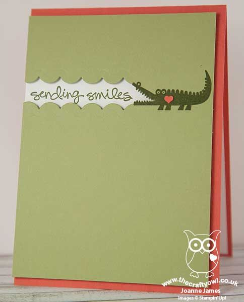 handmade card from The Crafty Owl ... The daily blog of Joanne James ... clever interpretation of CAS(E) This Sketch challenge #1888 ... olive and orange .. Zoo Baby crocodile with the sentiment .... Stampin' Up!