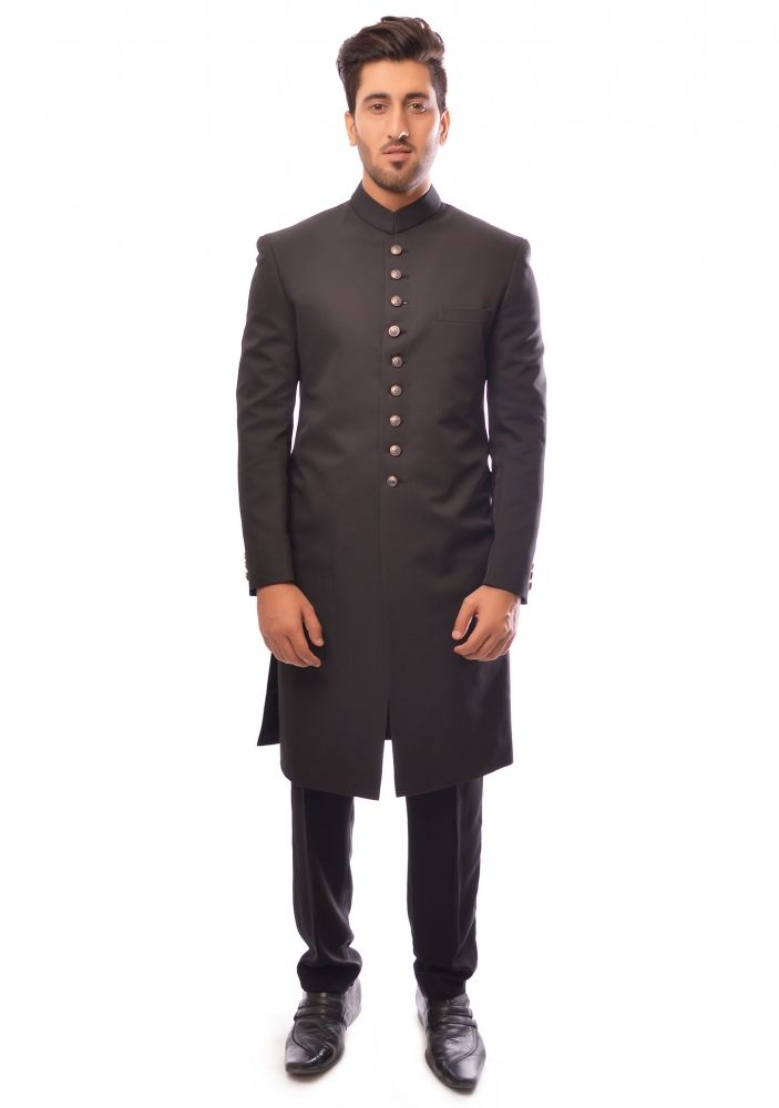 black suiting sherwani