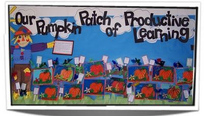 A ton of great ideas for bulletin boards on this website.  I love the pumpkin patch idea for October!