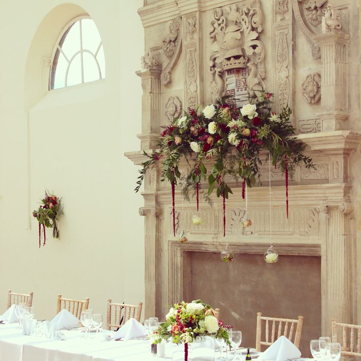 Cascading fireplace design at wrest park or anger.  Wedding flowers at wrest park