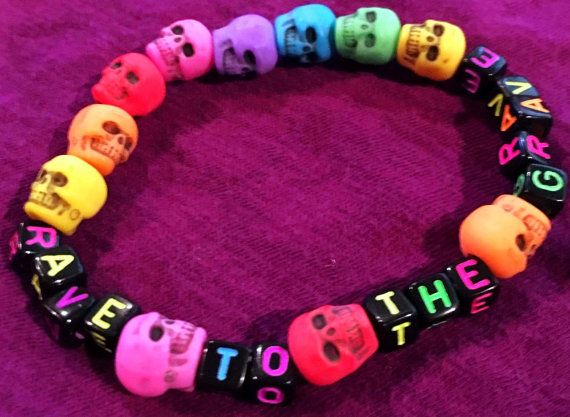 Cute Kandi Bracelet -Rave to the Grave Kandi Bracelet by KandiKweens on Etsy
