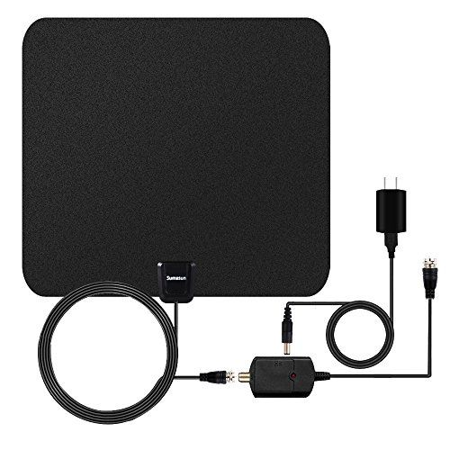 TV Antenna, Sumasun 50 Miles Indoor HDTV Antenna for Digital TV with Detachable Amplifier Signal Booster, 16.5FT High Performance Coaxial Cable, Upgraded Version Better Reception(Black)  SUMASUN INDOOR TV ANTENNA: Free for Life! You can get access to digital over-the-air (OTA) TV broadcasts from local television stations including local news, weather forecase, SUPER BALL&Basketball game and Enducational, Sitcomes, Kids amd sports programs etc! Enjoy crystal clear HDTV shows, 720p, 1080...