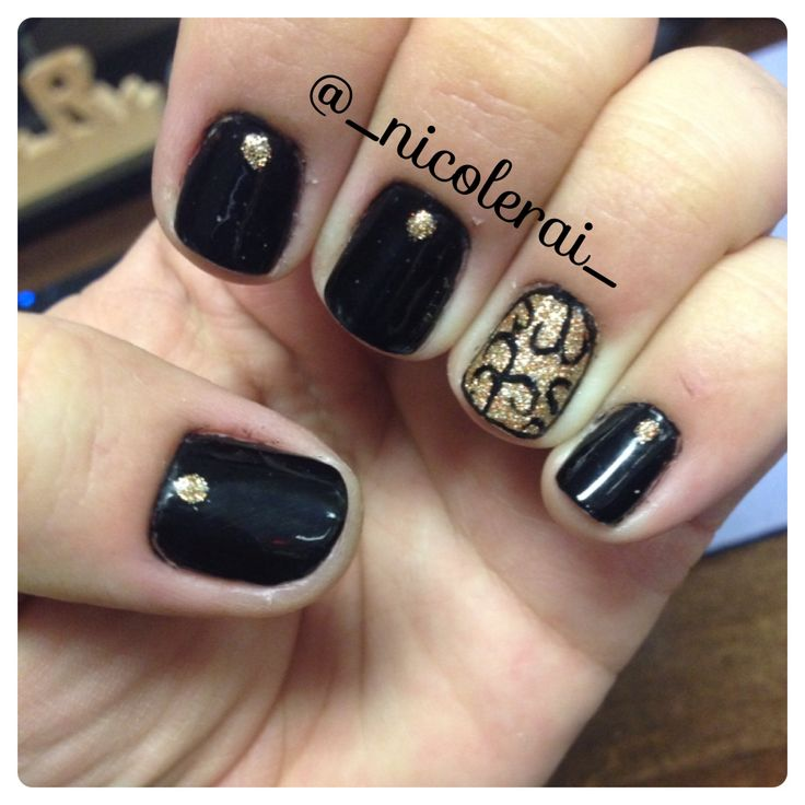 Black And Gold Nail Art Inspired By @mynailnart From