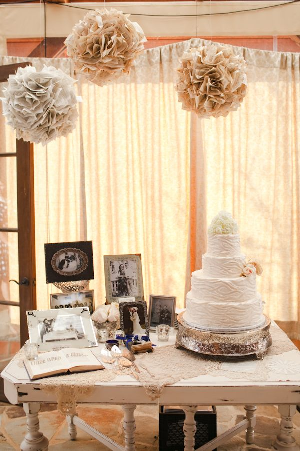this cake table tells the whole story of the bride - www.revivevintagerentals.com