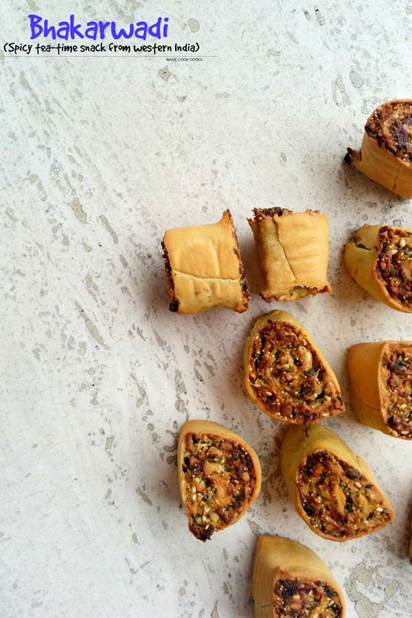 Baked bhakarwadi. Gilt free pleasure for the sweet & spicy tea time snack from India!