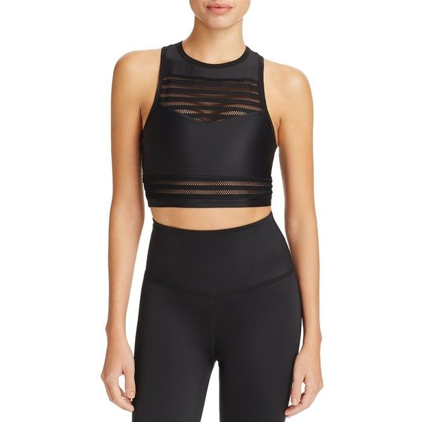 Beyond Yoga Mesh To Impress Sports Bra ($73) ❤ liked on Polyvore featuring activewear, sports bras, black, striped sports bra, beyond yoga and mesh sports bra
