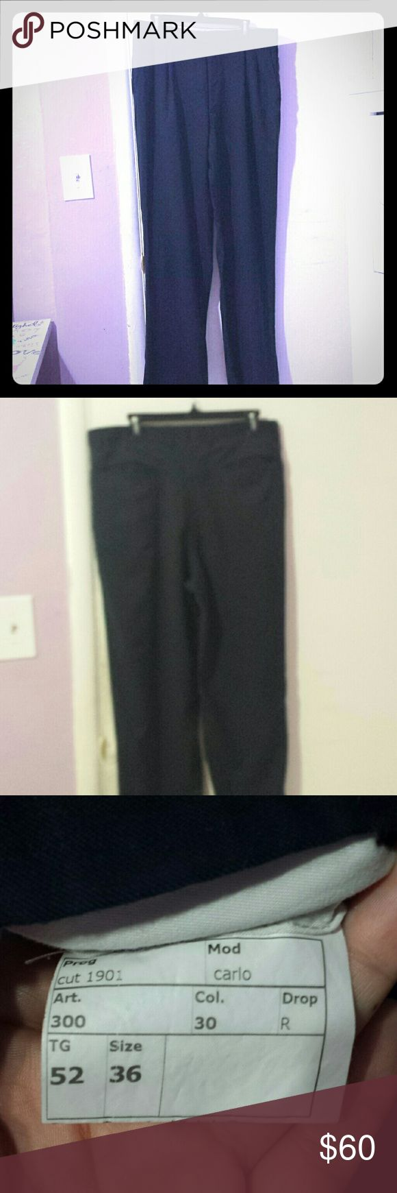 AUTHENTIC BURBERRY SLACKS FOR MEN. DARK BLUE BURBERRY GOING OUT SLACKS FOR MEN WITH PLEADS. SIZE 36 W BY 45 IN IN LENGTH. BUT HAS ABOUT AN EXTRA 2 INCHES INCASE YOU NEED MORE LENGTH. NEW CONDITION. Burberry Pants Dress