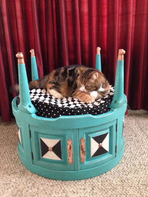 Upcycled End Table Pet Bed by Doodlebuggsart on Etsy