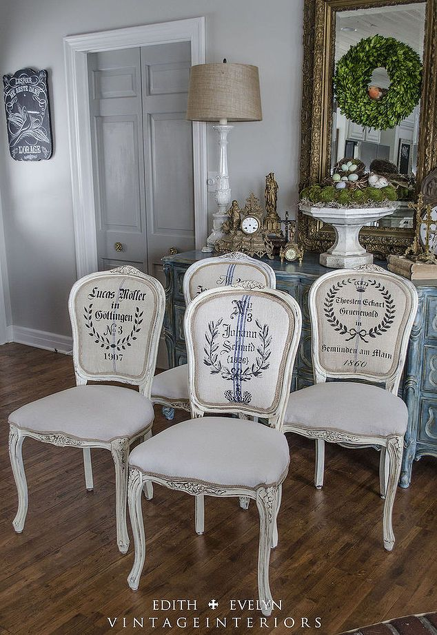 french chair renovation with grains sacks and stencils, chalk paint, how to, painted furniture, repurposing upcycling, reupholster, The after