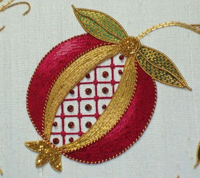 Goldwork & Silk embroidery pomegranate. Mary Corbet. I would love to be able to work like this.
