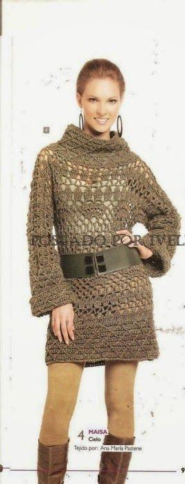 Patrones y explicación de vestido crochet de invierno