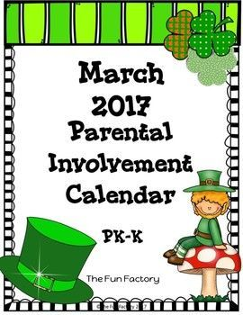 March Homework Calendar 2017 {PK/K}If you want more meaningful homework for your PK or Kindergarten students, this freebie March Parental  Involvement Calendar is for you.  Students and their families will have fun doing activities such as:Count by 10s to 50Talk to your child about what a pet needs to stay healthyLook outside for different birds.