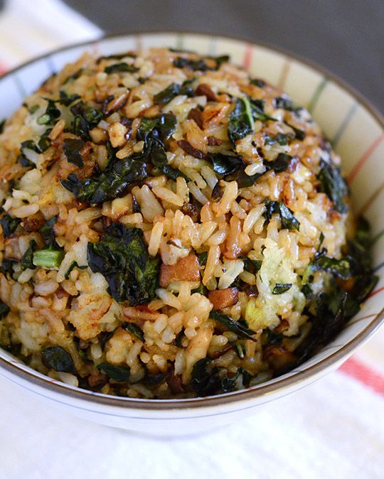 crispy kale and mushroom fried rice... Vegan