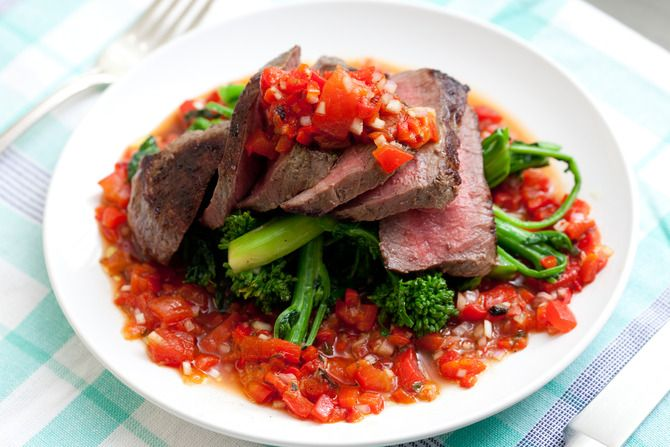 Steak with Salsa Rossa & Broccoli Rabe. Visit http://www.blueapron.com/ to receive the ingredients.