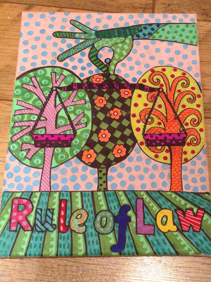 British Values, rule of law canvas. Nicky Jevon. Ledbury Primary School