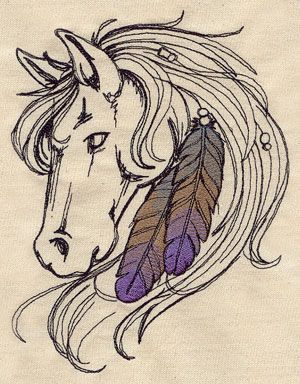 Horse and Feathers | Urban Threads: Unique and Awesome Embroidery Designs