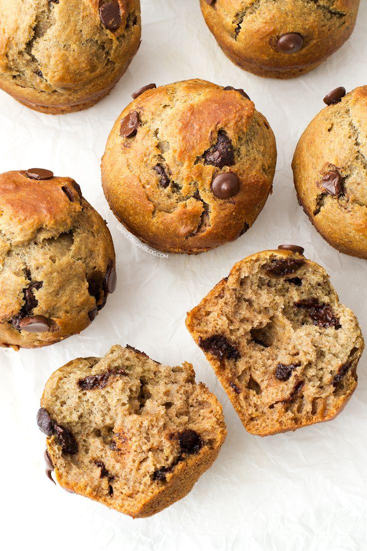 simple vegan chocolate chip muffins #vegan #muffins #recipe