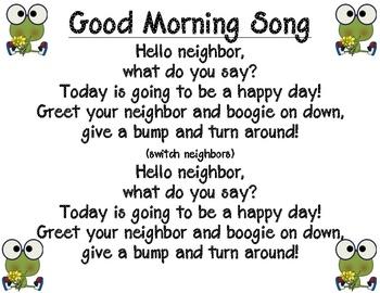 Good morning song....Frog Calendar Unit!