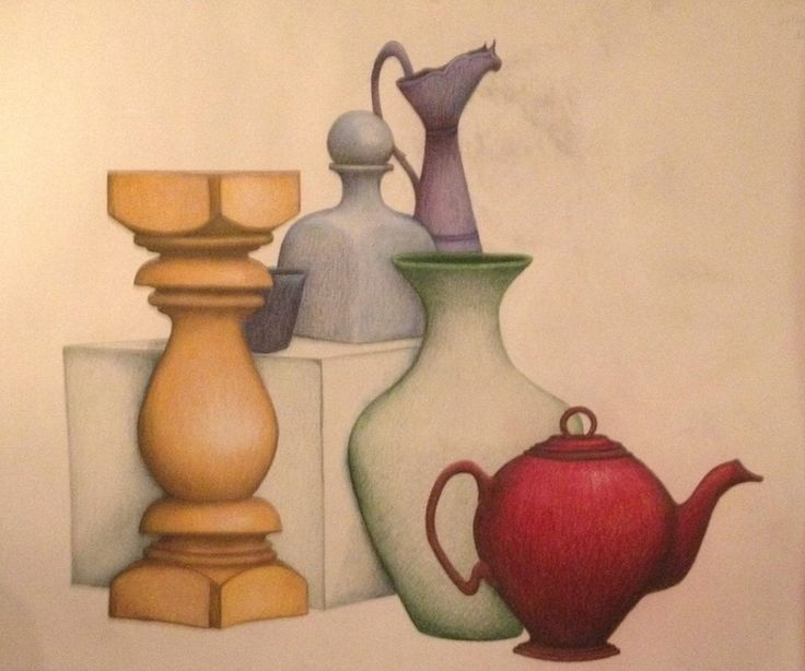 Still life study in graphite & color pencil 2013 t. johnsen Sold for $300