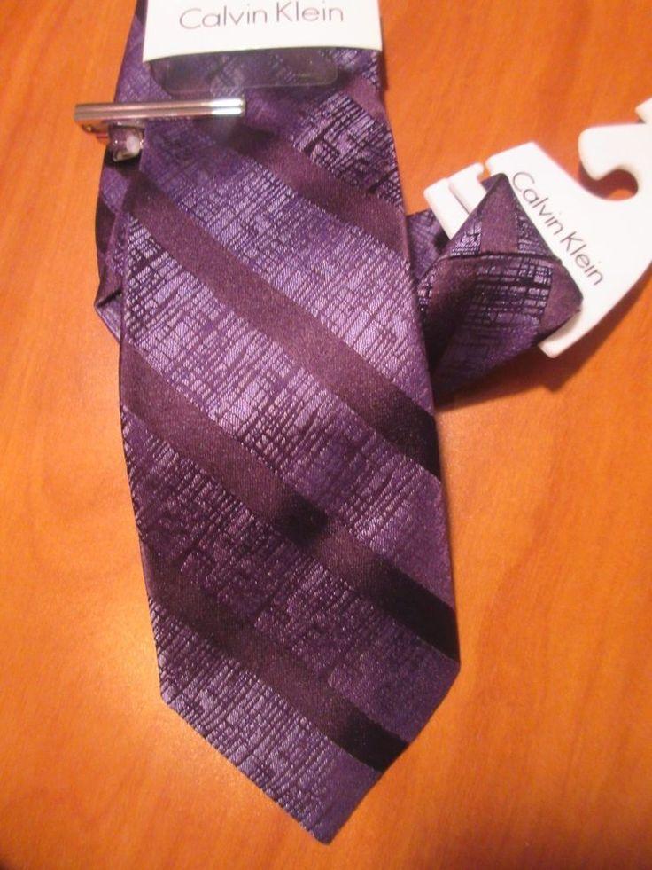 NWT CALVIN KLEIN Neck TIE Striped Purple 100% Silk With FREE Tie Bar MSRP $50.00 #CalvinKlein #NeckTie