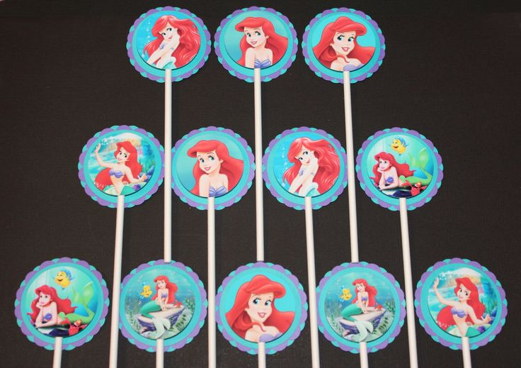 The Little Mermaid Cupcake Toppers,12 count Cake Toppers, Disney Princess Ariel by SuperCutePartySupply on Etsy https://www.etsy.com/listing/223455872/the-little-mermaid-cupcake-toppers12